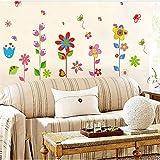 Zyzdsd Bunter Garten Blumen-Schlafzimmer-Raum-Vinylabziehbild-Kunst-Diy Hauptdekor-Wand-Aufkleber Entfernbar Der Reale Aufkleberbadezimmer Wasserdicht