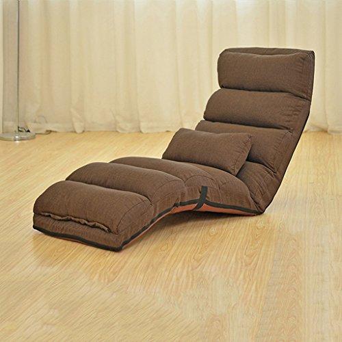 YJLAB Lazy Sofa Faltbare Erker Einzelzimmer Schlafsaal Schlafzimmer Bett Computer Stuhl (Farbe : Dark Coffee)