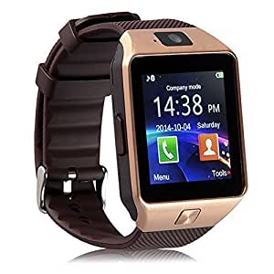 ESTAR Bluetooth Smartwatch with SIM Card Support | Micro SD card Support | Facebook | Whatsapp | Activity Tracker | Fitness Band | Music | Camera with Video Recording | Better Display | Loud Speaker | Microphone | Touch Screen | Multi-Language Compatible with Micromax Canvas Fire 4G Plus and All Other Smartphones - Golden Micromax Unite 3 Q372