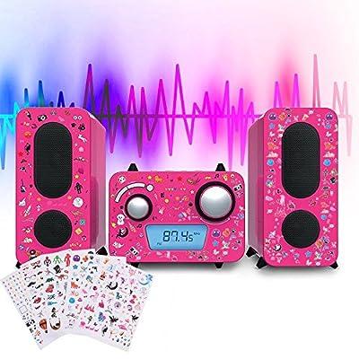 Chaîne Hi-FI stéréo Rose Design Lecteur CD Radio Haut-parleurs Bleu Autocollants par Bigben Interactive