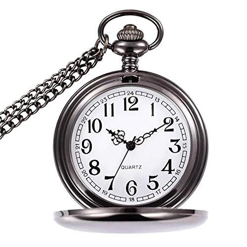 UEOTO Herren Unisex Analog Quarz Taschenuhr mit Halskette Kette Retro Quarzuhr Silber (Schwarz)