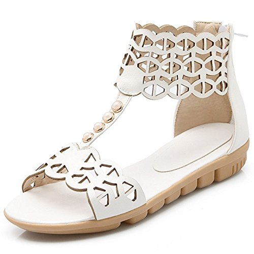 COOLCEPT Femmes Mode T-Strap Sandales Orteil ouvert Appartement Chaussures With Fermeture eclair Blanc