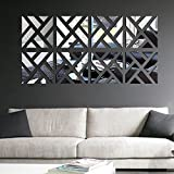 Anself Geometrico smontabile DIY 3D acrilica Specchio Adesivo Set Sticker Art Decalcomanie murale per la Decorazione Domestica 30 * 120 Centimetri
