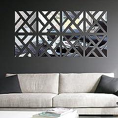 Idea Regalo - Anself Geometrico smontabile DIY 3D acrilica Specchio Adesivo Set Sticker Art Decalcomanie murale per la Decorazione Domestica 30 * 120 Centimetri