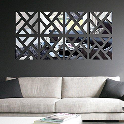 Anself 6St 3D Spiegel Wand Aufkleber DIY Wandtattoos Quadrat-Form Aufkleber für Zimmer Dekoration (Zebrastreifen)