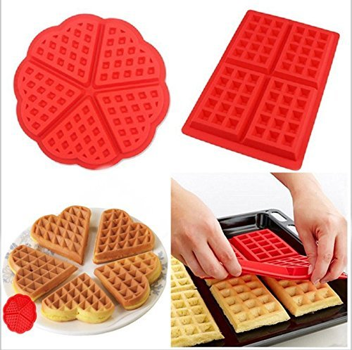HABI 2 Stil Silikon Waffle Kekse Kochen Küche Backen Werkzeug 2 - Silikon-form Waffel