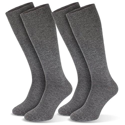 2 Paar Kompressionsstrümpfe Stützkniestrümpfe Kniestrümpfe Unisex Grau 35/38 (Zwei-paar-pack Sock)