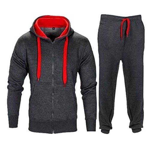 Men's Contrast Cord Fleece Full Zip Up Tracksuit Hoodie Gym Suit Jogging Joggers