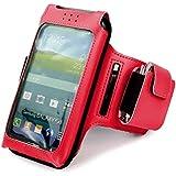Tuff-Luv Uni-SE x taille unique Brassard de sport/ Sportsband étui amovible réglable pour Smartphones (iPhone 5s / SE Y compris / 5c / 6 Samsung Galaxy S3 S4 S5 / HTC One M7 M8 / Nexus 4 5 / Nokia Lumia) - Rouge