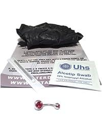 DCTatoo - Kit Básico de Perforación de Ombligo Calidad Premium - 1.6mm (14g) - Con Opción de Joya con Gema CZ - Rubí