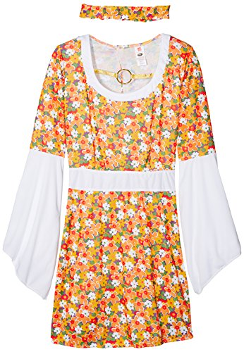 Flower Power Damenkostüm mit Kleid und Haarband    , Small