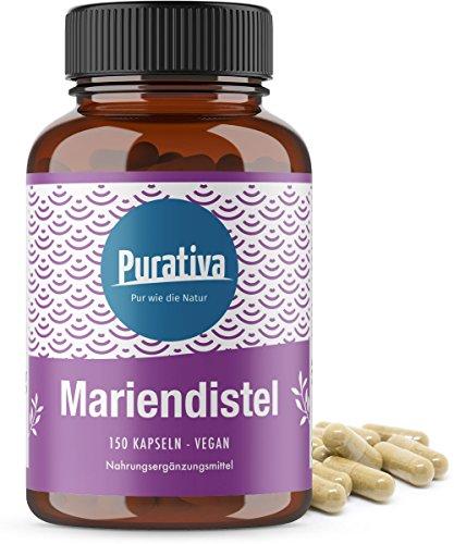 Mariendistel Extrakt hochdosiert - 150 Kapseln - 80% Silymarin - Einführungspreis - Mariendistelextrakt- OHNE: Magnesiumstearat - Hergestellt und kontrolliert in Deutschland - 5 Monatsvorrat - Vegan