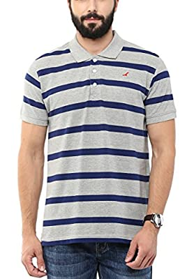 AMERICAN CREW Men's Polo Collar Cotton Stripes T-Shirt (Grey Melange & Blue)