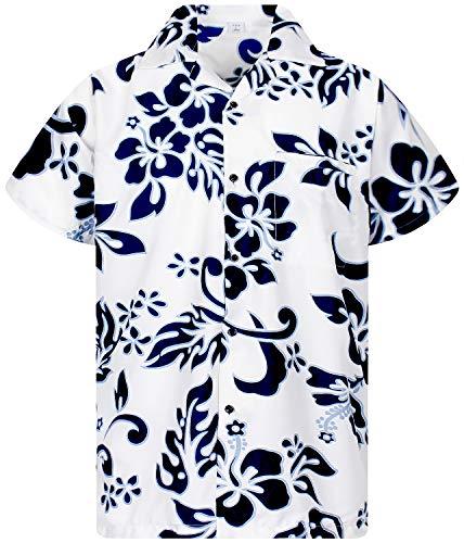 V.H.O. Funky Hawaiihemd, Kurzarm, Hibiskus, Navyblau auf Weiß New, 4XL - Blau Cabana