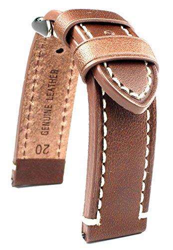 LEDERBAND 20 mm BAND CATALONIA Fliegeruhren Retro Look STRAP brown /braun