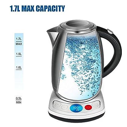 OZAVO-Wasserkocher-Edelstahl-Elektrischer-Wasserkocher-Schnellwasserkocher-mit-Temperatureinstellung-Warmhaltefunktion-Auto-Abschaltung-Schutz-vor-Austrocknen-2200-Watt-17-L