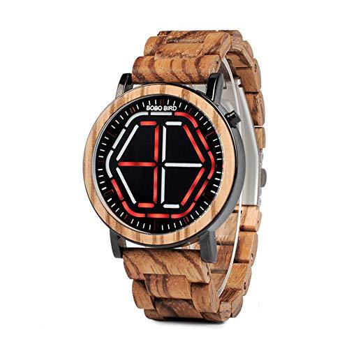 WTZFHF Mode Herren Holz Uhr LED Casual Holztisch Digitale Elektronische Uhr Für Groomsmen Geschenk Mit Box (Holz Herrenuhr-boxen)