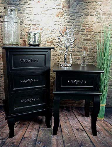 Tisch Kommode (Livitat® Nachttisch Nachtschrank Nachtkonsole Nachschränckchen Nachtkommode barock LV4031 (Schwarz, 3 Schubladen))