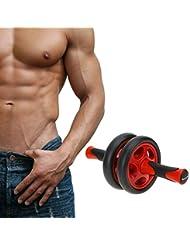 hiputi (TM) ligero portátil sin ruido rueda abdominal entrenamiento ejercicio AB Roller con Mat para ejercicio Fitness Equipment, rojo