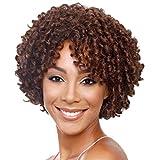 Longlove Perruque entière courte tendance, cheveux doux bouclés synthétiques à aspect de cheveux humains naturels, pour filles