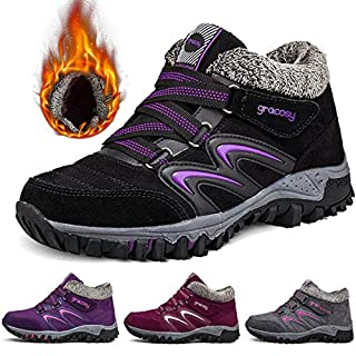 gracosy Women Flat Walking Hiking Ankle Boots, Winter Low Rise Slip On Trekking Footwear Anti-Slip Shoes Fur Lined Outdoor Lace Up Lightweight Breathable Warm Snow Boots Running Boots Black 6 UK