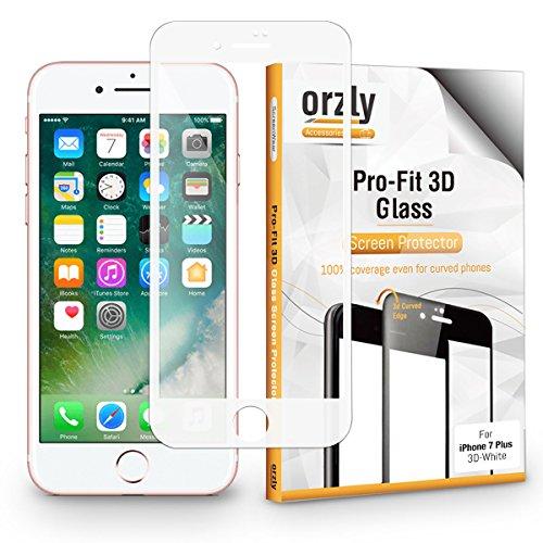 Protector de Pantalla iPhone 7 Plus, 3D Pro-Fit Protector de Prima de Cristal Templado de Orzly® [Protección completa de la pantalla para el iPhone 7 Plus - BLANCO [Bordes curvados 3D para mejor ajuste]