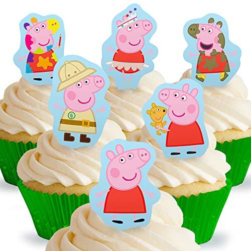 Toppershack 12 x Vorgeschnittene und Essbare Aufrecht Stehende Peppa Pig Peppa Kuchen Topper (Tortenaufleger, Bedruckte Oblaten, Oblatenaufleger)