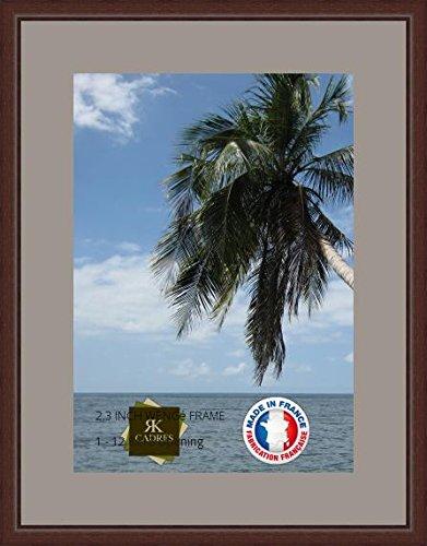 Bilderrahmen mit Passepartout Grau TV Wand Bilderrahmen für ein Bild 32x45 / 32 x 45 cm Rahmen Wenge klassisch, 2.3 cm breiten Holzleisten, Holzrahmen
