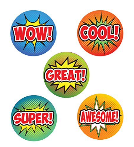 125x WOW., Cool., Pow., super SB3., KA-POW. Retro, Comic Pop Art Aufkleber. 28mm Schule groß Aufkleber