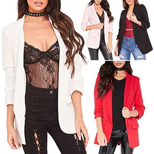 Red Olives® New Ladies Frill Ruffle 3/4 Sleeve Duster Coat Women Jacket Blazer UK 8-26