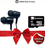 #8: STRONTIUM 32GB CLASS 10 MicroSDHC MEMORY CARD (SR32GTFC10R) + Veera Tech ARZOO In-Ear Headphones / Earphone / Headphone / Handfree / Headset With Mic (Perfect Combo) Compatible For Samsung ,Xiaomi ,Motorola & Mp3 Player
