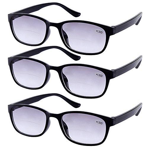 3Paar BIFOKALGLÄSER getönte Lesebrille den täglichen Gebrauch Sun Leser Eyewear Herren Damen Home Office Brille + 1.0bis + 4.0Objektiv