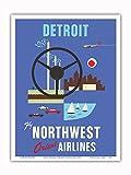 Pacifica Island Art - Detroit, Michigan - Motown, Motor City - Flieg mit Nord-West Orient Airlines - Vintage Retro Fluggesellschaft Reise Plakat c.1950s - Kunstdruck - 23cm x 31cm