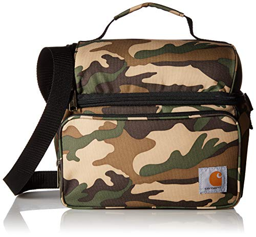 Carhartt Deluxe Dual Compartment Insulated Lunch Cooler Bag, Camo Carhartt Logo-patch