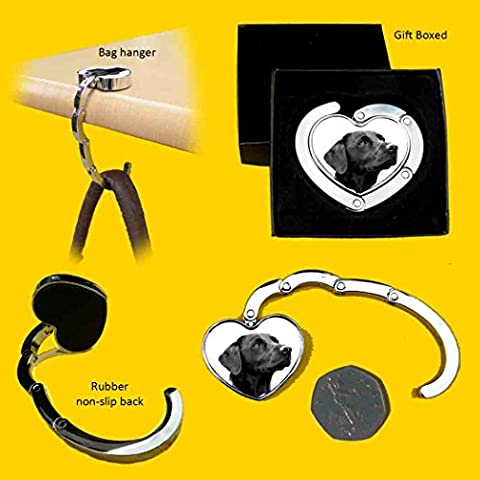 Labrador Black Gift. Heart shaped Handbag/Purse hanging hook. Stainless steel,