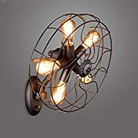 HJGYT European wall lamps retro industrial wall sconces living room aisle creative personality restaurant bar lights retro wrought iron fan wall lights decorative lighting