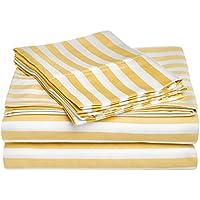 Superior - Set di lenzuola 183 x 213 cm, resistenti alle grinze, morbide, con tasche profonde, a 600 fili a righe, Cabana, cotone misto, senape, 4 pezzi