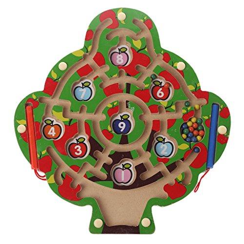 Senoow Apfelbaum aus Holz magnetischer Stift Labyrinth-Spiel-Labyrinth-Kinder, die Bildungs-Spielwaren Lernen