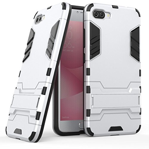 YHUISEN 2 in 1 Iron Armor Tough Style Hybrid Dual Layer Armor Defender PC + TPU Schutzhülle mit Stand Shockproof Case für Asus ZenFone 4 Max Pro (ZC554KL) ( Color : Black ) Silver