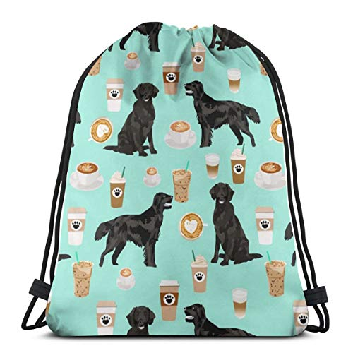 Flat Coated Retriever Coffee Pattern - Dog, Dogs, Cute Dog, Flat Coated Retriever Dog - Mint_3404 3D Print Drawstring Backpack Rucksack Shoulder Bags Gym Bag for Adult 16.9