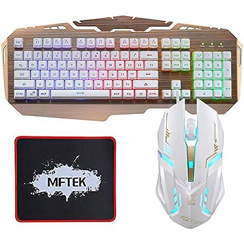MFTEK USB con cable LED arco iris retroiluminada juego teclado y ratón conjunto con cojín de ratón