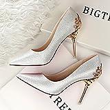 MDRW-Lady/Elegant/Arbeit/Freizeit/Feder Einzelne Schuhe Schuhe Schuhe Silber Braut Schuhe Wildleder Scharfe 8 Cm High Heels 39