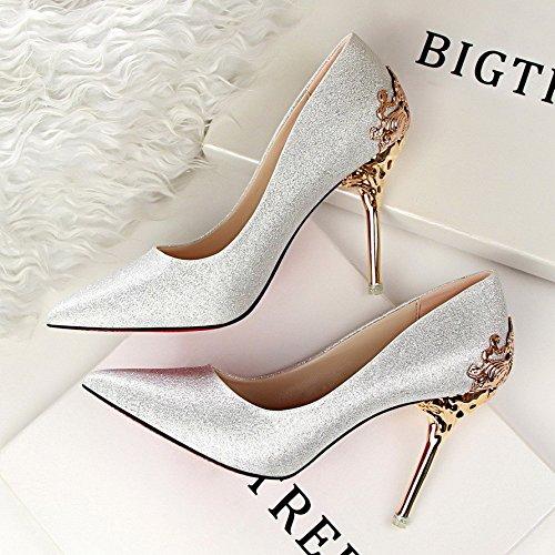 Olici MDRW-Lady/Elegant/Arbeit/Freizeit/Feder Einzelne Schuhe Schuhe Schuhe Silber Braut Schuhe Wildleder Scharfe 8 cm High Heels 37