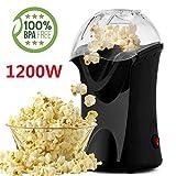 Popcornmaschine Alsideso 1200W Heißluft Popcorn Maker Automatische Heißluft-Popcorn-Maschine für Zuhause, Weites-Kaliber-Design mit Messbecher und abnehmbarem Deckel