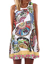 Bekleidung Longra❤ ❤ Longra Damen Beachwear Strandkleider Sommerkleid Kurz  Minikleid im Ethno- be55eec454