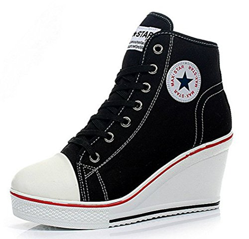 Kivors Women Wedges Shoes Canvas High-Top Casual Shoes Lace Buckle Zipper Side Wedge Heel 8CM (37 EU, Black)