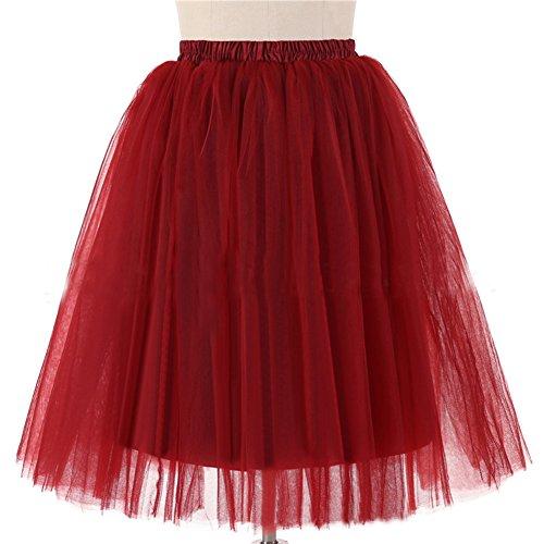 Honeystore Damen's 5 Layer Knielanger Rock Elastic Bund Tutu Prinzessin Tütü Tutu Petticoat Ballettrock One Size (Kostüme Halloween Ebay Vintage)