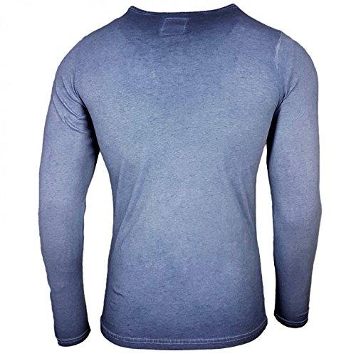 Rusty Neal Longshirt Printed Motiv Druck Langarm Shirt Longsleeve 10115 Indigo
