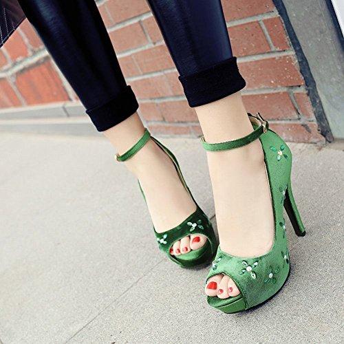 Mee Shoes Damen ankle strap peep toe Plateau Pumps Grün