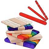 300 pcs (3 Modèles) Batôns en bois Bâtonnets Colorés Art Artisanat DIY (15cm, 12cm)